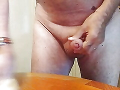 Unclothed housework coupled with cum