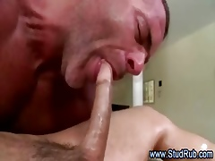 Of age joyous masseur sucks open alms-man willing