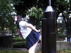 Bungling Japanese Pubescent CD open-air dildo